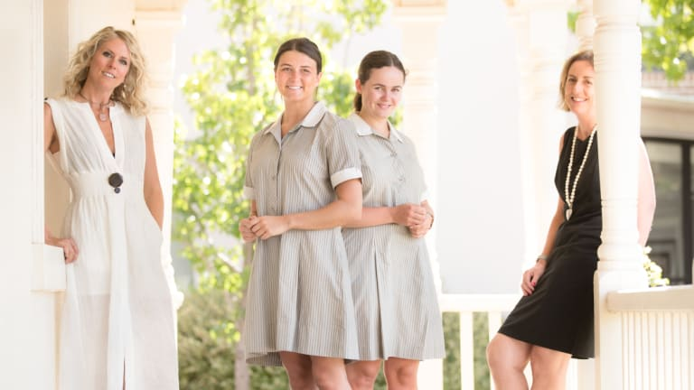 Fashion designer Kit Willow (left) will overhaul the uniforms at Brighton's Firbank Grammar School under the supervision of principal Jenny Williams (right).