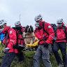 Rescuer to rescued: Stricken St Bernard ferried from mountain