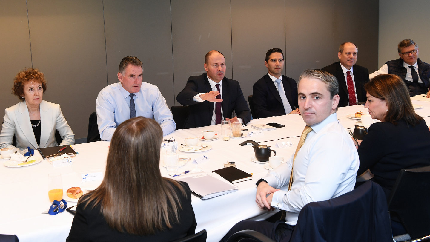 Treasurer Josh Frydenberg meeting with other banking ceos at the CBD headquarter in Sydney. Photo by Peter Braig/Pool. 11 March 2020. On the left of Frydenberg is Ross McEwan, CEO of NAB, Josh Frydenberg, and right (with red tie)  Peter King, Westpac's Acting Chief Executive Officer. Facing the camera (yellow tie) is Matt Comyn, CEO of CBA , and next to him is Anna Bligh is the Chief Executive Officer of the Australian Banking Association Pool Pic. Treasurer Josh Frydenberg meeting with other banking ceos at the CBD headquarter in Sydney. Photo by Peter Braig/Pool. 11 March 2020. On the left of Frydenberg is Ross McEwan, CEO of NAB, Josh Frydenberg, and right (with red tie) Peter King, Westpac's Acting Chief Executive Officer. Facing the camera (yellow tie) is Matt Comyn, CEO of CBA , and next to him is Anna Bligh is the Chief Executive Officer of the Australian Banking Association.