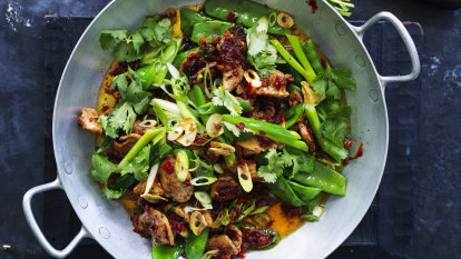 Neil Perry's stir-fried pork with snow peas and XO sauce