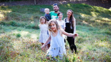 Gypsy-Jewel, 5, with parents Heidi Charles and Joel Johnston and siblings Izaeah, 11, Ruby-Rose, 7, and Junior-Joel, 2.