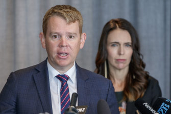 Minister for COVID-19 Response Chris Hipkins, pictured with New Zealand Prime Minister Jacinda Ardern.