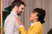 Duncan Ragg, as Benedick and Zindzi Okenyo as Beatrice in Much Ado About Nothing.