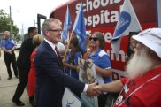 Opposition Leader Michael Daley gets a warm reception from HSU members at Nepean Hospital on Friday.