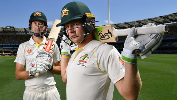 Out and in: Will Pucovski and Kurtis Patterson at the Gabba on Wednesday. Only the latter will make his Test debut against Sri Lanka.
