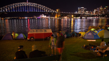 Blues Point Reserve on New Year's Eve in previous years before ticketing was introduced.