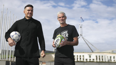 Sonny Bill Williams and Craig Foster at Parliament House on Wednesday.