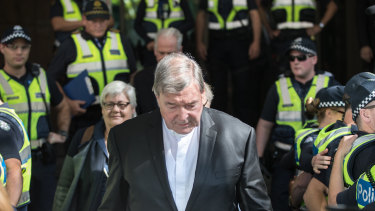 George Pell outside the Melbourne Magistrates Court on Tuesday.