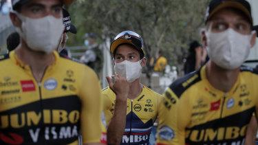 Slovenia's Primoz Roglic with teamates at the Tour de France team presentation.