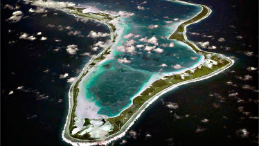 An aerial view of Diego Garcia island, one of the Chagos in the Indian Ocean.