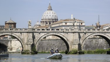 The Tiber River in the Vatican, in Rome,