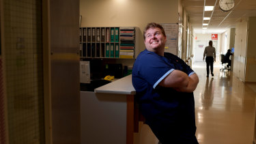 Aged care nurse Peter Messer, pictured at Westmead Hospital, will be among those who get the jab on Monday.