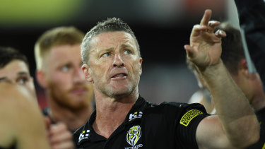 On the up: Coach Damien Hardwick guided his Tigers into the top four with a win over the Cats.