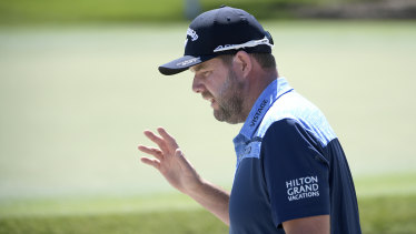 Marc Leishman acknowledges the crowd at the Arnold Palmer Invitational.
