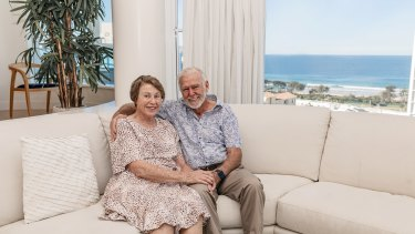 Keith and Glenda Drake in their Maroochydore penthouse, which they're auctioning off to raise funds for the Royal Brisbane and Women's Hospital Coronavirus Action Fund.