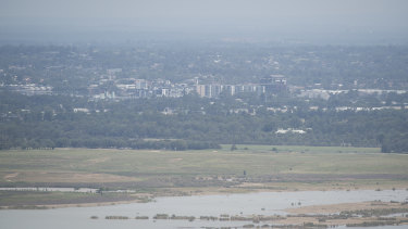 Summer haze: The view of Penrith, obscured by air pollution,  from Hawkesbury lookout on December 31.