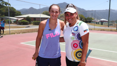 Mikayla Zahirovic, right, with Ash Barty, whose success as an Indigenous woman she says is inspirational.