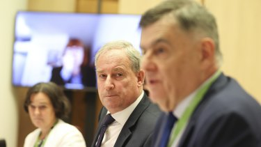 Aged Care Services Minister Richard Colbeck, centre, and Department of Health boss Brendan Murphy are grilled over aged care during a Senate estimates hearing this week.