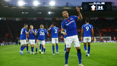 Richarlison of Everton celebrates after scoring his side's second goal against Southampton.