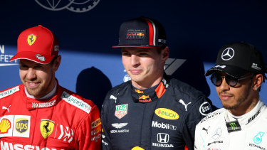 Top three qualifiers Sebastian Vettel, Max Verstappen and Lewis Hamilton in Sao Paulo.