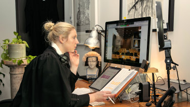Victorian barrister Kat Brazenor with her virtual court set-up in Melbourne.