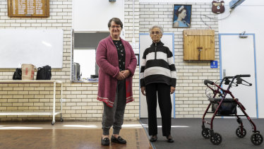 Longman voters Carol Malafant (left) and Joan Parker (right) in Caboolture.