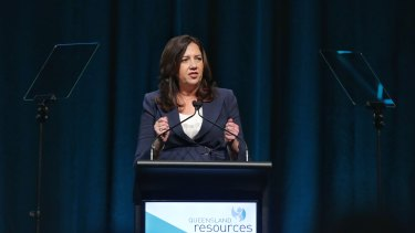 Premier Annastacia Palaszczuk speaking at a Queensland Resources Council lunch on Friday.