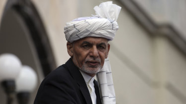 Afghan President Ashraf Ghani speaks after he was sworn in at an inauguration ceremony at the presidential palace in Kabul on Monday.