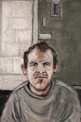 In this June 14, 2019, file courtroom drawing, Brenton Tarrant appears via video link in court from a maximum security prison in Auckland.
