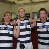 Joel Selwood, Tom Harley, and Steve Johnson in the rooms after Geelong's 2007 qualifying final win.