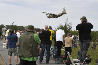 An Israeli Hercules C-130 transport plane lands at the Noervenich airbase ahead of the joint military exercises.