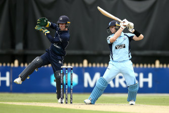 Steve Smith, right, in action for the Blues on Monday.