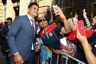 Mitchell was popular with Roosters fans, pictured here in the lead-up to last year's grand final.