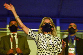 US first lady, Jill Biden waves during the opening ceremony of the Tokyo 2020 Olympic Games