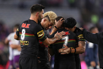 Panthers players after losing the 2020 NRL Grand Final to the Melbourne Storm.