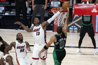 Bam Adebayo blocks Jayson Tatum's attempt.