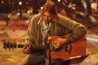 Kurt Cobain performs for MTV's Unplugged in 1994.