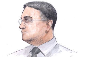 A court sketch of Bradley Robert Edwards from when the trial opened earlier in the week.