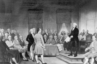 The signing of the Constitution of the United States, which sets out the Electoral College system of voting, in 1787.