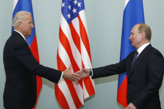US President-elect Joe Biden, pictured meeting with Russian President Vladimir Putin in Moscow, in 2011, has immediate worries about nuclear proliferation in Russia, Iran and North Korea.