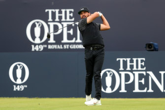 Jason Day tees off during his second round at the British Open.