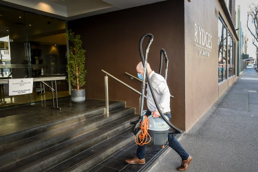 """The Rydges on Swanston hotel, whose night manager was """"patient zero"""" in the coronavirus outbreak."""