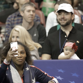 Serena Williams takes a selfie with husband Alexis Ohanian and Alexis Olympia. before the first round of the Fed Cup in 2018.