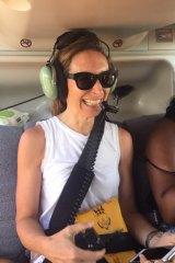 Australian National University associate professor Meghan Miller flies over Hawaii's Kilauea volcano in a helicopter.