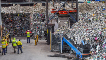 Landfill waste after the recycling process, seen at SKM Group's Laverton facility.