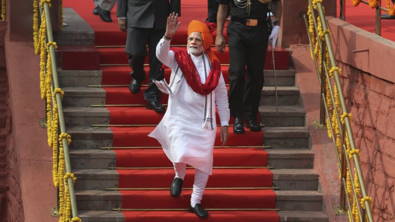 Narendra Modi after addressing the nation on Independence Day last week.