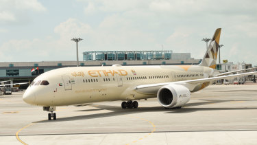 One of the targets: The men were allegedly planning to bomb an Etihad plane.