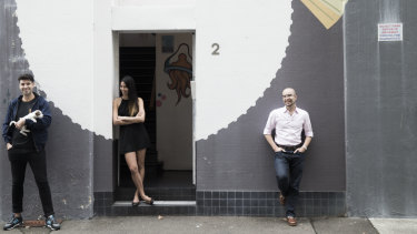 Canva co-founders Cliff Obrecht (left), Melanie Perkins and Cameron Adams (right) at their Surry Hills offices in 2015.
