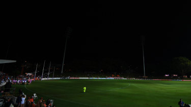 The power went out in the second quarter of the AFL Womens' game at Drummoyne Oval on Friday night.
