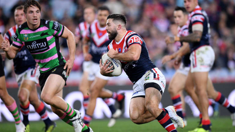No.1 with a bullet: Roosters fullback James Tedesco makes a break against the Rabbitohs at ANZ Stadium.